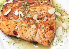 Lemon Dill Salmon with Garlic, White Wine, and Butter Sauce Recipe Sauce Recipes, Fish Recipes, Seafood Recipes, Cooking Recipes, Appetizer Recipes, Lemon Dill Salmon, Salmon And Asparagus, Pan Seared Salmon, Butter