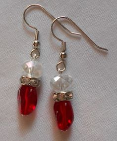 Handmade Earrings Ruby Red Drop Beads Rhinestones and Clear Faceted Beads  #Handmade #DropDangle Sold