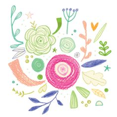 Doodle flower - Floral illustration, pastel + ink + colour pencil by Laurence Lavallée aka Flo