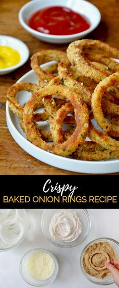 Crispy Baked Onion Rings Recipe Ditch the deep fryer in favor of this quick and easy recipe for Crispy Baked Onion Rings paired with your choice of dipping sauces. Healthy Onion Rings, Homemade Onion Rings, Baked Onion Rings, Easy Onion Rings Recipe, Baked Onions, Roasted Onions, Crispy Onions, Vegetable Dishes, Vegetable Recipes