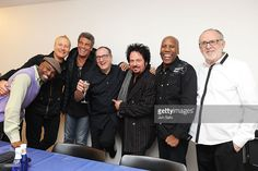 Musicians Bob James, Nathan East, Steve Lukather, Chuck Loeb, Mark Rivera, Gregg Bissonette and Clarence Penn pose for a photograph at backstage during the Fourplay 'Esprit De Four' Concert at Blue Note Tokyo on February 25, 2013 in Tokyo, Japan.