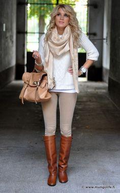 White sweater, tan scarf, khaki pants, brown boots