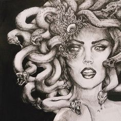 Medusa by Madeleine Ink on Deviant Art  Date Unknown  Contrast between the…