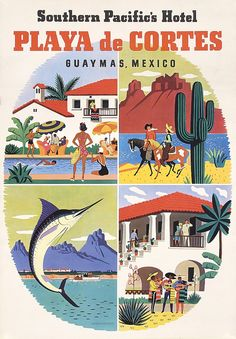 OLD 1930s Southern Pacific Rail Travel Poster MEXICO