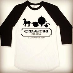 shirt coach cinderella baseball tee far far away disney name brand princess walt disney black and white fairy tale