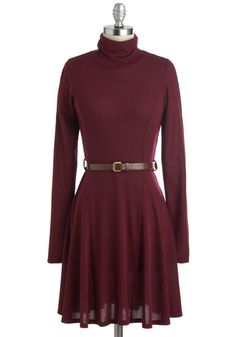Zinfandel Zeal Dress - Sheer, Red, Solid, Belted, Casual, Sweater Dress, Long Sleeve, Fall, Mid-length, Tis the Season Sale