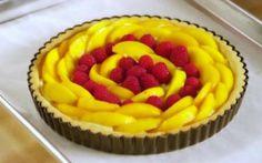 Peach and Raspberry Custard Tart by Anna Olson (Berries, Peach, Raspberry) @FoodNetwork_UK