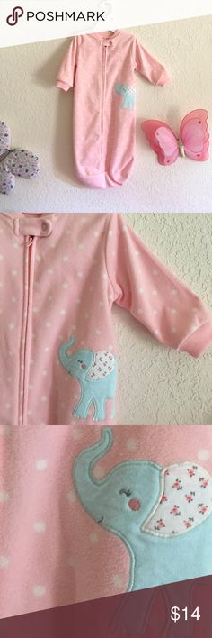 Super cute & coddling baby sleep sack 0-9months Very comfy, cozy, safe and soft baby sleep sack! Long sleeve with zipper! Supper easy to put it on and off! Super adorable polka dots pattern & cute elephant detail on top! EXCELLENT CONDITION Carter's Pajamas Sleep Sacks