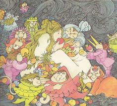 Illustration of Laura and the Goblin Men. This picture is more cartoonish but very funny. This picture shows her actually eating the fruit.