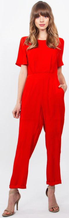 - NEW IN - Bow Tie Jumpsuit features a red short sleeve jumpsuit with an adorable bow tie detail in the back. Accessorize with cute nude heels or gold accessories! #streetstyle