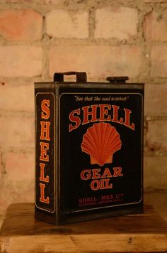 Nice Rare Shell Gear Oil Tin - Shell Motor Oil Can - Vintage Antique Automobilia