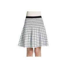 Saks Fifth Avenue BLACK Grid Jacquard Skater Skirt ($40) ❤ liked on Polyvore featuring skirts, long flared skirts, flared skirt, jacquard skirt, long circle skirt and white skirt