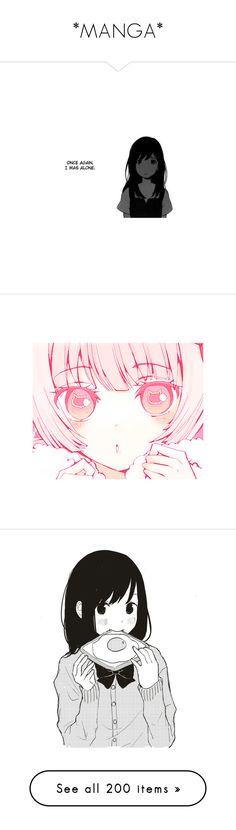 """*MANGA*"" by mei-moo ❤ liked on Polyvore featuring anime, manga, fillers, quotes, text, doodle, phrase, saying, scribble and characters"