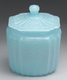 NEW LIGHT BLUE MILK Depression Glass MAYFAIR Style Cookie Jar Canister Biscuit | eBay