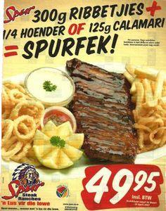 Ou Spur advertensie Calamari, Afrikaans, Beef, Food, Meat, Essen, Meals, Octopus, Yemek