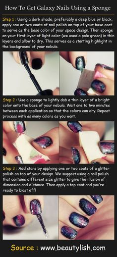 How To Get Galaxy Nails Using a Sponge | Pinterest Tutorials