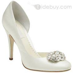 Zapatillas para Novia de Cuero con Tacón de Punta Alta y Dedos Cerrados y con Diamantes de Imitación
