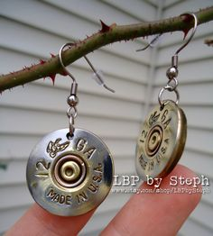 12 gauge shotgun ammo earrings, $13 Made from repurposed spent ammo!!