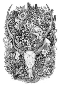 Hunter and prey. Black and white ink artwork.