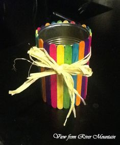 Popsicle Stick Pencil Cup - This might be a great kids' craft for Sunday school! =)