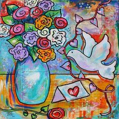 Hearts and Flowers original still life floral dove painting by Melanie Douthit at ebsq ebsqart