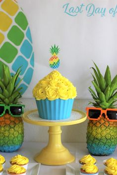 Yellow pineapple cake from an Pineapple cake from an Aloha Summer Party on Kara's Party Ideas   KarasPartyIdeas.com (8)