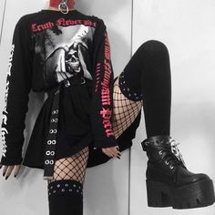 9331 likes, 76 comments - With the skirt or as a dress?💀🥀 Plus some Finn Wolfhard memes cause boi it's been a mood lately Shirt and socks Cute Emo Outfits, Punk Outfits, Teen Fashion Outfits, Retro Outfits, Gothic Outfits, Alternative Outfits, Alternative Mode, Alternative Fashion, Soft Grunge Outfits