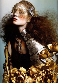 Marina Dias Vogue Italia September 2005 (gold, veil, dragonfly)