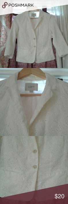 Loft Lace Like Blazer NEW! This off white 2 button blazer has 2 front real slit pockets, 3/4 sleeves and a sinched back. Perfect for the Spring! Take a look at other items in my closet! Always open to  offers. LOFT Jackets & Coats Blazers