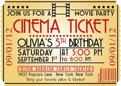 MOVIE NIGHT Birthday Party Themed Invitation Movie Theatre Hollywood Parties 13th
