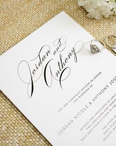 Vintage Glam Wedding Invitations with Big Script Names - Classic, elegant, timeless wedding invitations Pinterest Wedding Invitations, Wedding Invitation Text, Shine Wedding Invitations, Wedding Pinterest, Wedding Stationery, Invites, 1940s Wedding, Glamorous Wedding, Timeless Wedding