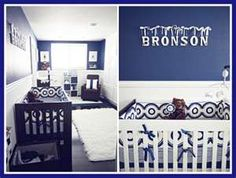 blue-white-nursery. Maybe grey walls with royal blue for the Royals? pmd