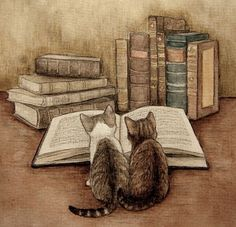 Cats and books. Books and cats.