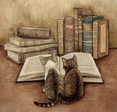 Cats and books. Books and cats. noch ein bild fuer dein coffee shop mit katzen und buecher