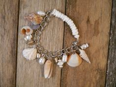 Seashell Charm Bracelet Dangle White Cream Silver Neutral Beach Pebble Pearls Organic Beachy Natural Bridal Jewelry Sass and Wiggle Etsy
