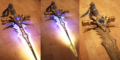 Image 3 of 3: LED lights added to warrior sword. Protoss Wizard Cosplay, so majestic.
