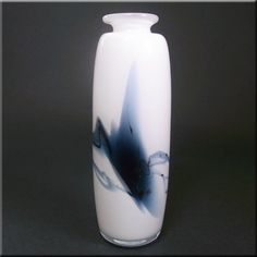 """Holmegaard glass 'Atlantis' vase, designed by Michael Bang. Marked with a number """"2"""" on the base."""