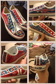 Custom One Direction shoes!!! Visit http://www.whatawhoot.com/ for more info on great custom work! 1D converse
