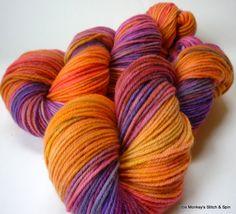 "Hand dyed Yarn, Melody DK, gradient dyed, Superwash Merino, ""Sunset"". $26.00, via Etsy."