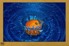 Картина пано за стена от 1 част - Портокал във вода - HD-527-1  Атрактивна декорация - картина пано за стена от 1 част с абстрактен мотив - красиво цветно изображение на портокал падащ във вода.