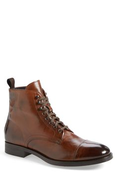 Stylish men's cognac boots for fall.