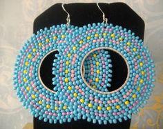 Seed bead Earrings  Aqua Berries Multicolored by WorkofHeart