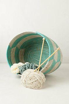 Handwoven Cattail Basket #anthropologie all i want to do is knit during a breaking bad marathon.