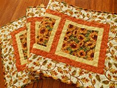 Fall Quilted Table Runner, Sunflowers and Leaves, Rust Gold and Brown, Autumn Leaves, Autumn Table Runner, Quilted Table Mat, Table Quilt by susiquilts on Etsy