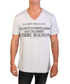 PIERRE BALMAIN Pierre Balmain Men'S Word Graphic Logo V-Neck T-Shirt Grey'. #pierrebalmain #cloth #t-shirts