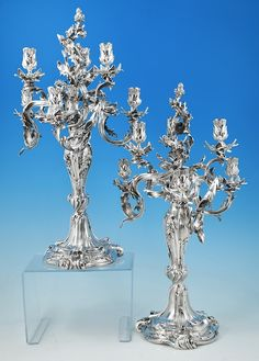 A magnificent pair of French silver six-light candelabra. Signed , 'L Falize Orf Paris, 15 Octobre 1893