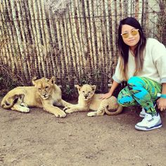 South Africa. playing with lion cubs