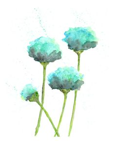 watercolor flower painting, watercolor poppies, flower art, abstract flower painting, poppy painting, aqua, mint green, modern  - 8X10 print via Etsy