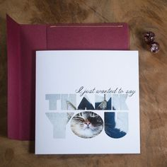 Lazy Cat, Square 'Thank You' cards with handmade envelope!