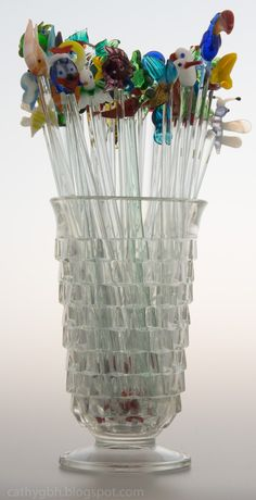 Glass Swizzle Stick Collection - Displayed in an antique pressed glass Celery Vase. Things To Think About, Things To Come, Displaying Collections, Pressed Glass, Flower Basket, Paper Weights, Dried Flowers, Celery, Glass Vase